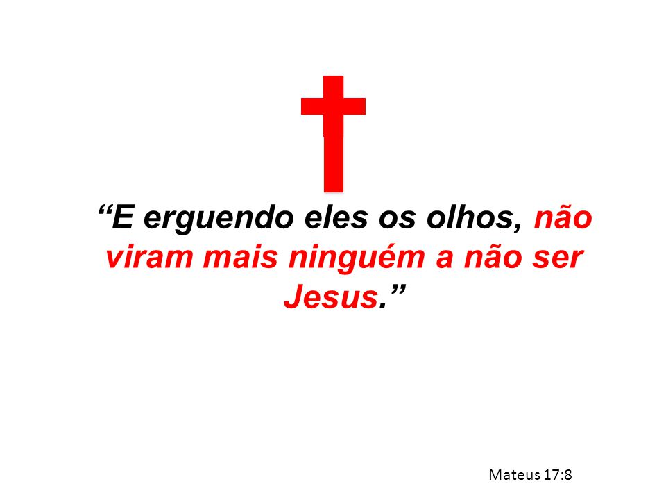 """""""E erguendo eles os olhos, não viram mais ninguém a não ser Jesus."""" Mateus 17:8"""
