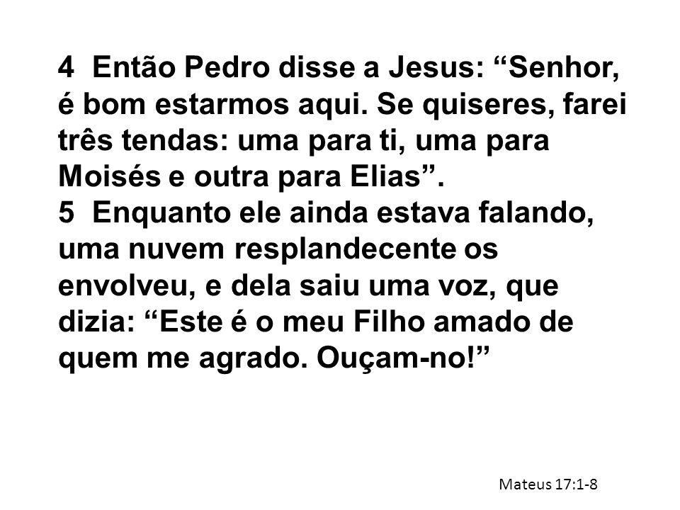 """4Então Pedro disse a Jesus: """"Senhor, é bom estarmos aqui. Se quiseres, farei três tendas: uma para ti, uma para Moisés e outra para Elias"""". 5Enquanto"""