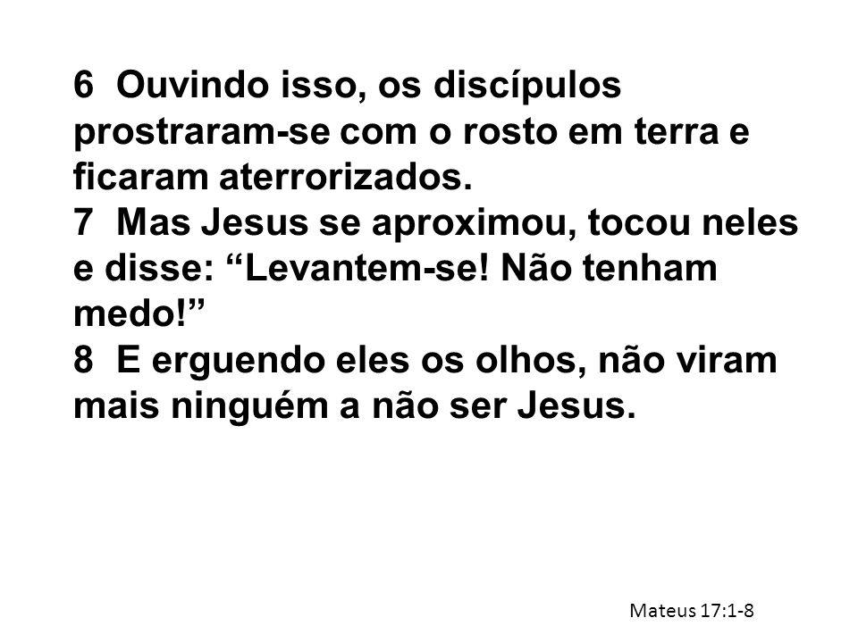 """6Ouvindo isso, os discípulos prostraram-se com o rosto em terra e ficaram aterrorizados. 7Mas Jesus se aproximou, tocou neles e disse: """"Levantem-se! N"""