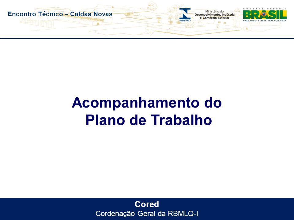Encontro Técnico – Caldas Novas Cored Cordenação Geral da RBMLQ-I Acompanhamento do Plano de Trabalho