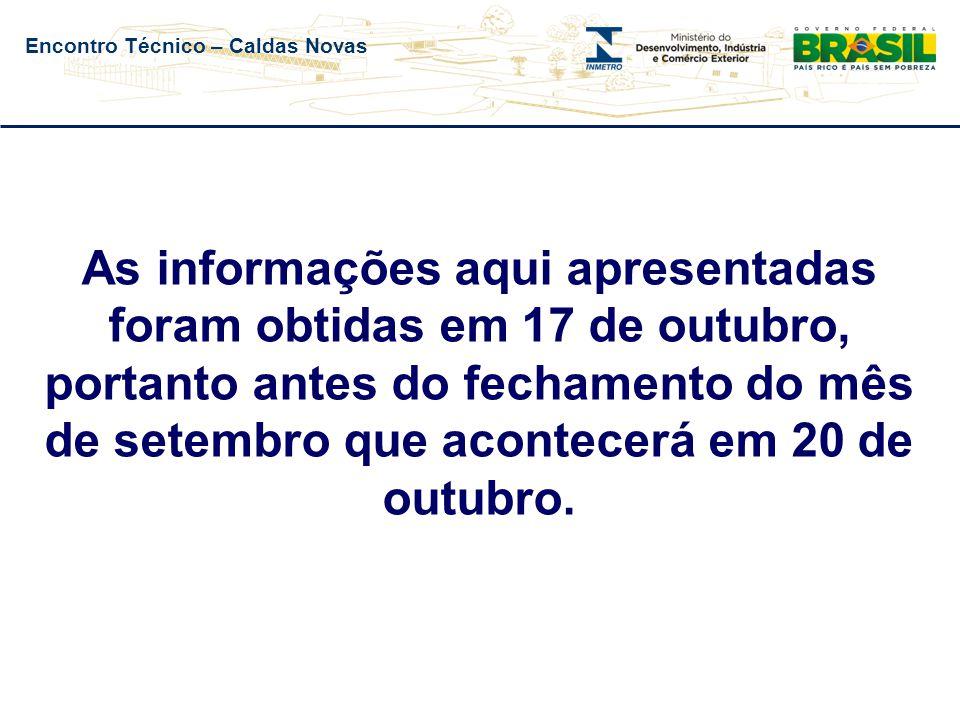 Encontro Técnico – Caldas Novas As informações aqui apresentadas foram obtidas em 17 de outubro, portanto antes do fechamento do mês de setembro que acontecerá em 20 de outubro.