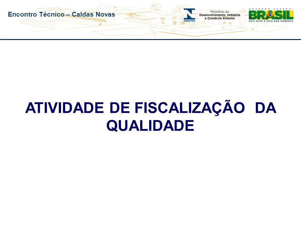 Encontro Técnico – Caldas Novas ATIVIDADE DE FISCALIZAÇÃO DA QUALIDADE