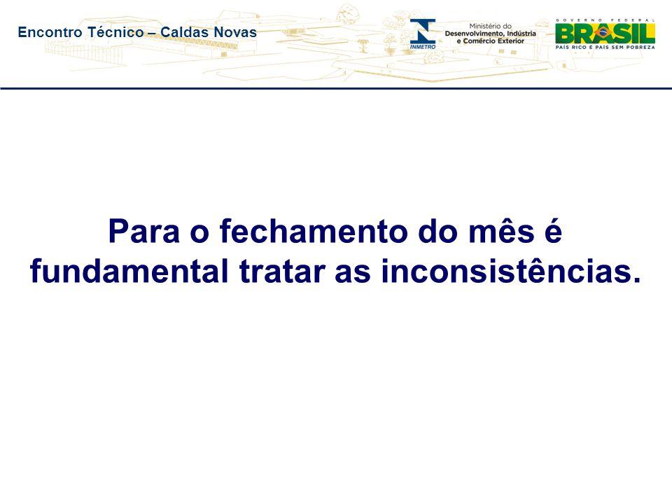 Encontro Técnico – Caldas Novas Número de ações de fiscalização – Qualidade
