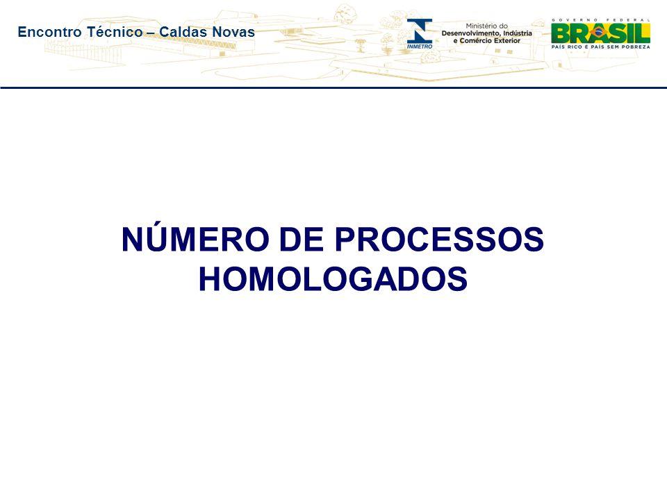 Encontro Técnico – Caldas Novas NÚMERO DE PROCESSOS HOMOLOGADOS