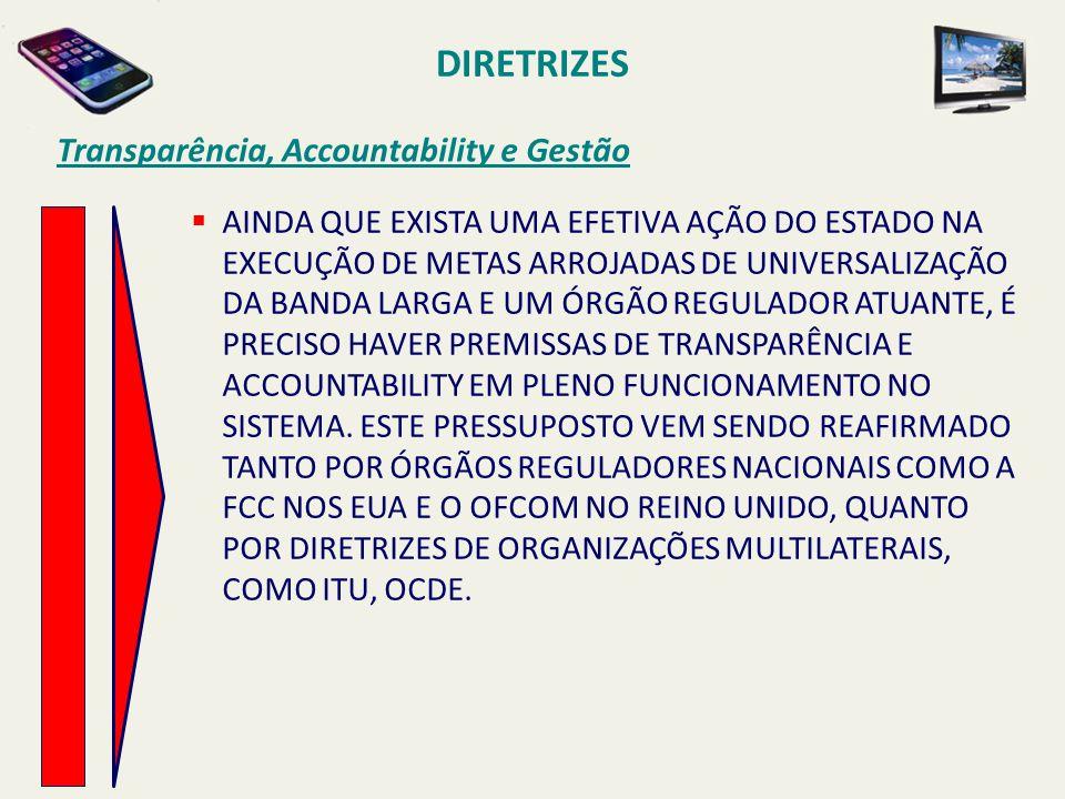 DIRETRIZES Transparência, Accountability e Gestão  AINDA QUE EXISTA UMA EFETIVA AÇÃO DO ESTADO NA EXECUÇÃO DE METAS ARROJADAS DE UNIVERSALIZAÇÃO DA B