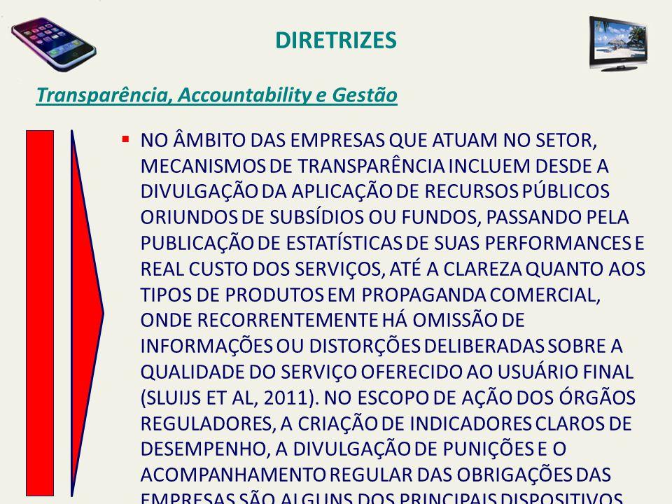 DIRETRIZES Transparência, Accountability e Gestão  NO ÂMBITO DAS EMPRESAS QUE ATUAM NO SETOR, MECANISMOS DE TRANSPARÊNCIA INCLUEM DESDE A DIVULGAÇÃO
