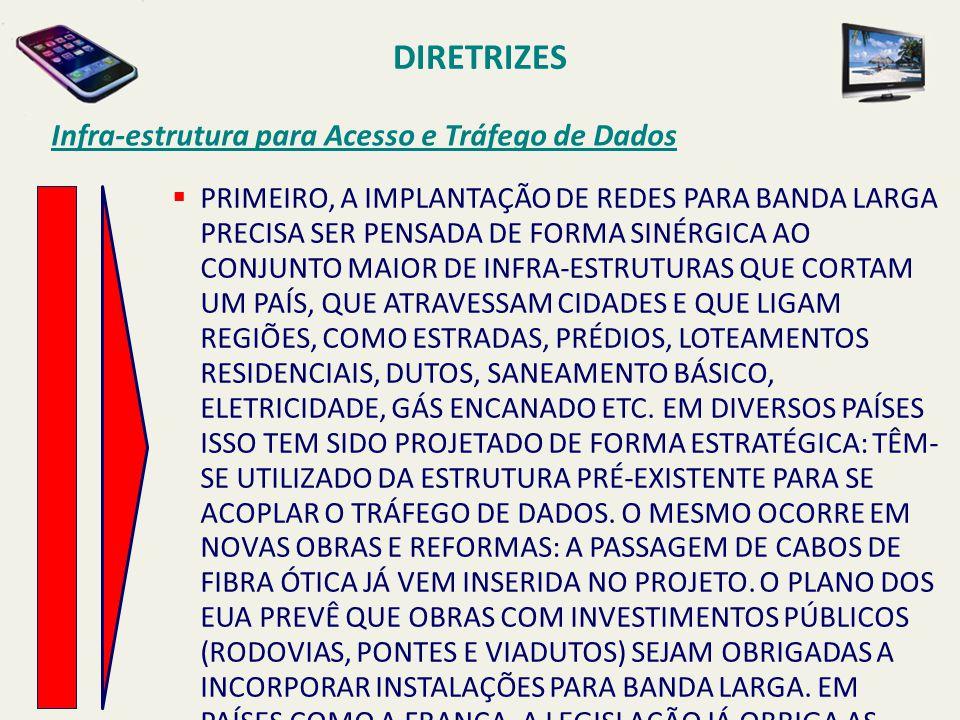 DIRETRIZES Infra-estrutura para Acesso e Tráfego de Dados  PRIMEIRO, A IMPLANTAÇÃO DE REDES PARA BANDA LARGA PRECISA SER PENSADA DE FORMA SINÉRGICA A