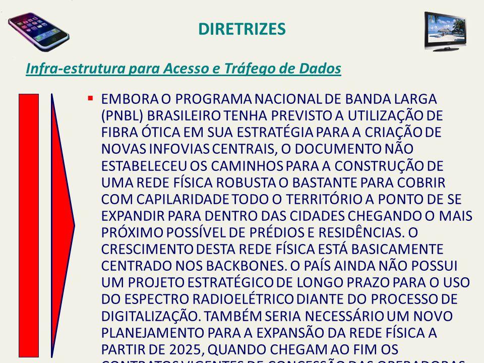 DIRETRIZES Infra-estrutura para Acesso e Tráfego de Dados  EMBORA O PROGRAMA NACIONAL DE BANDA LARGA (PNBL) BRASILEIRO TENHA PREVISTO A UTILIZAÇÃO DE