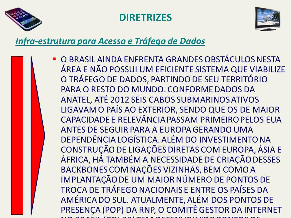 DIRETRIZES Infra-estrutura para Acesso e Tráfego de Dados  O BRASIL AINDA ENFRENTA GRANDES OBSTÁCULOS NESTA ÁREA E NÃO POSSUI UM EFICIENTE SISTEMA QU