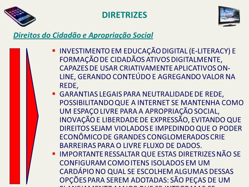 DIRETRIZES Direitos do Cidadão e Apropriação Social  INVESTIMENTO EM EDUCAÇÃO DIGITAL (E-LITERACY) E FORMAÇÃO DE CIDADÃOS ATIVOS DIGITALMENTE, CAPAZE