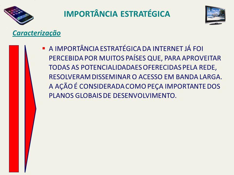 Caracterização  A IMPORTÂNCIA ESTRATÉGICA DA INTERNET JÁ FOI PERCEBIDA POR MUITOS PAÍSES QUE, PARA APROVEITAR TODAS AS POTENCIALIDADAES OFERECIDAS PE