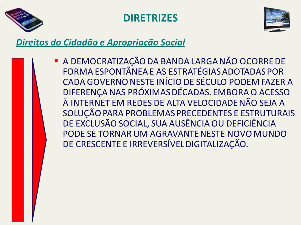 DIRETRIZES Direitos do Cidadão e Apropriação Social  A DEMOCRATIZAÇÃO DA BANDA LARGA NÃO OCORRE DE FORMA ESPONTÂNEA E AS ESTRATÉGIAS ADOTADAS POR CAD