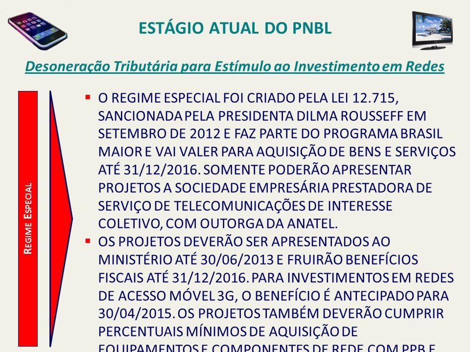 ESTÁGIO ATUAL DO PNBL R EGIME E SPECIAL Desoneração Tributária para Estímulo ao Investimento em Redes  O REGIME ESPECIAL FOI CRIADO PELA LEI 12.715,