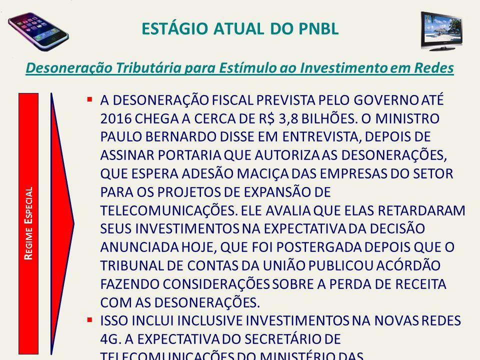 ESTÁGIO ATUAL DO PNBL R EGIME E SPECIAL Desoneração Tributária para Estímulo ao Investimento em Redes  A DESONERAÇÃO FISCAL PREVISTA PELO GOVERNO ATÉ