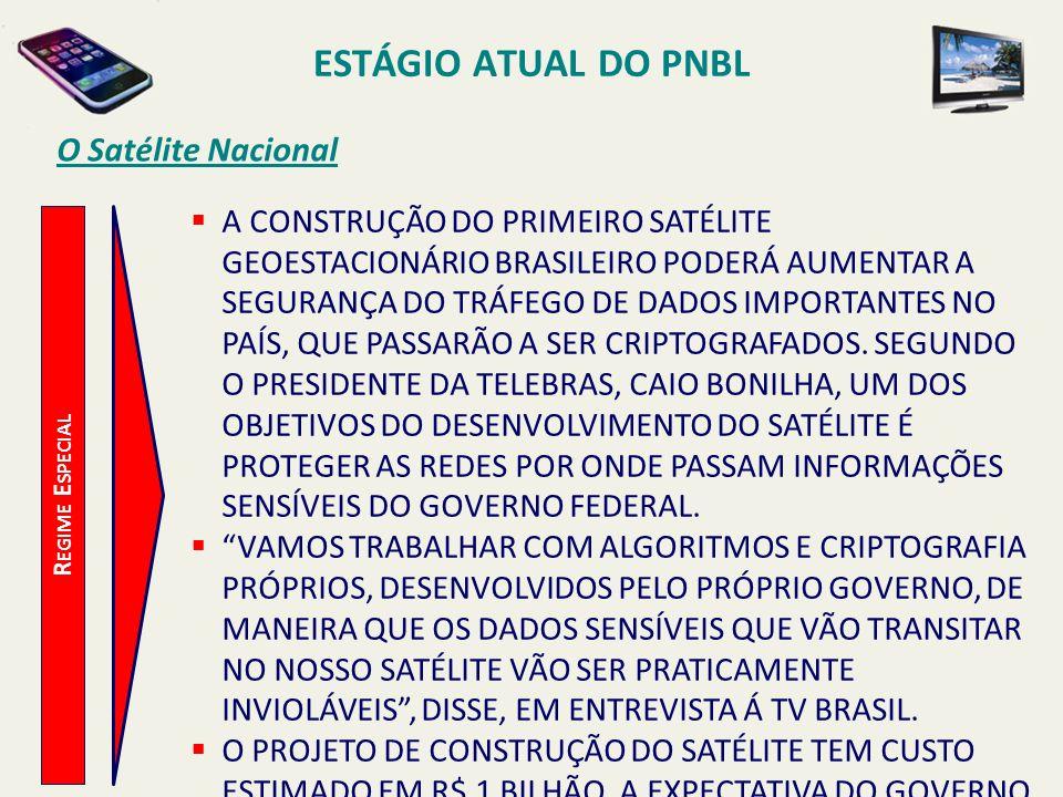ESTÁGIO ATUAL DO PNBL R EGIME E SPECIAL O Satélite Nacional  A CONSTRUÇÃO DO PRIMEIRO SATÉLITE GEOESTACIONÁRIO BRASILEIRO PODERÁ AUMENTAR A SEGURANÇA