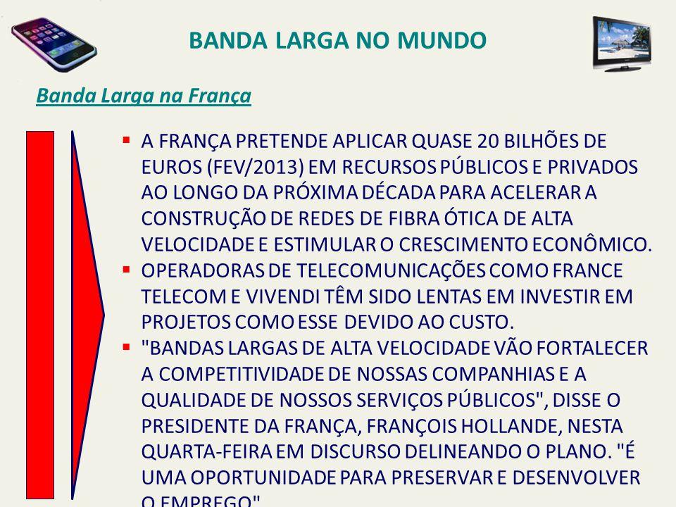 BANDA LARGA NO MUNDO Banda Larga na França  A FRANÇA PRETENDE APLICAR QUASE 20 BILHÕES DE EUROS (FEV/2013) EM RECURSOS PÚBLICOS E PRIVADOS AO LONGO D
