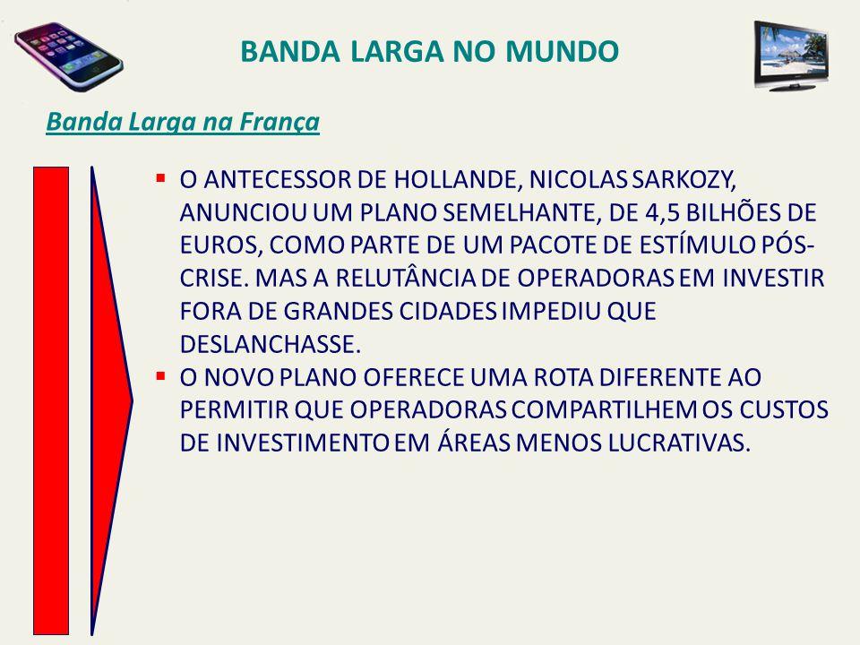 BANDA LARGA NO MUNDO Banda Larga na França  O ANTECESSOR DE HOLLANDE, NICOLAS SARKOZY, ANUNCIOU UM PLANO SEMELHANTE, DE 4,5 BILHÕES DE EUROS, COMO PA