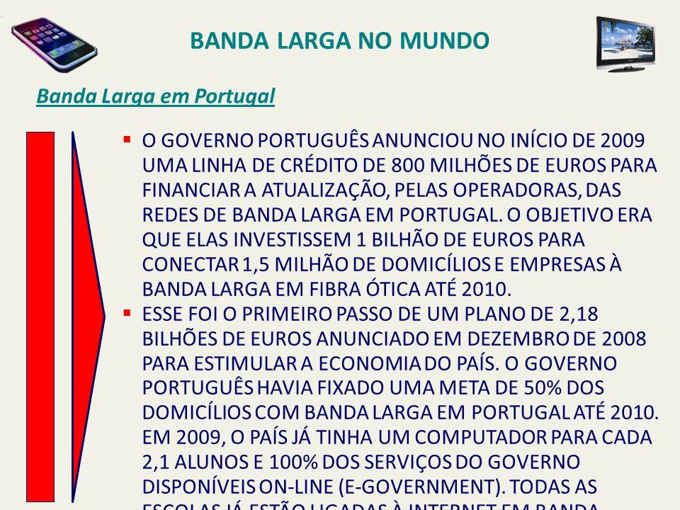 BANDA LARGA NO MUNDO Banda Larga em Portugal  O GOVERNO PORTUGUÊS ANUNCIOU NO INÍCIO DE 2009 UMA LINHA DE CRÉDITO DE 800 MILHÕES DE EUROS PARA FINANC