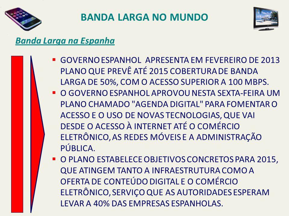BANDA LARGA NO MUNDO Banda Larga na Espanha  GOVERNO ESPANHOL APRESENTA EM FEVEREIRO DE 2013 PLANO QUE PREVÊ ATÉ 2015 COBERTURA DE BANDA LARGA DE 50%