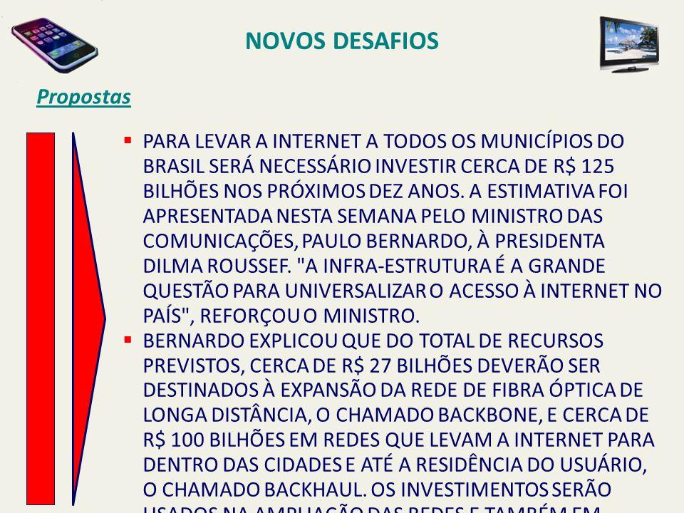 NOVOS DESAFIOS Propostas  PARA LEVAR A INTERNET A TODOS OS MUNICÍPIOS DO BRASIL SERÁ NECESSÁRIO INVESTIR CERCA DE R$ 125 BILHÕES NOS PRÓXIMOS DEZ ANO