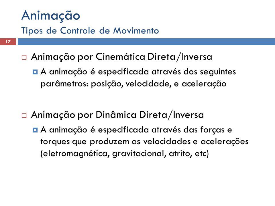  Animação por Cinemática Direta/Inversa  A animação é especificada através dos seguintes parâmetros: posição, velocidade, e aceleração  Animação po