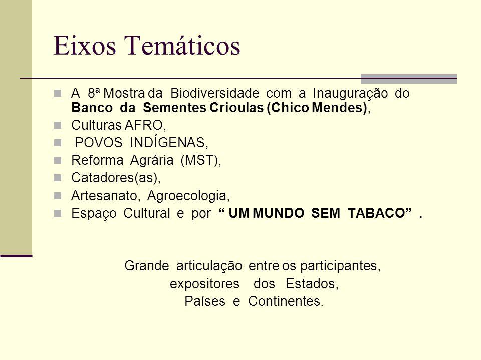 Eixos Temáticos A 8ª Mostra da Biodiversidade com a Inauguração do Banco da Sementes Crioulas (Chico Mendes), Culturas AFRO, POVOS INDÍGENAS, Reforma Agrária (MST), Catadores(as), Artesanato, Agroecologia, Espaço Cultural e por UM MUNDO SEM TABACO .