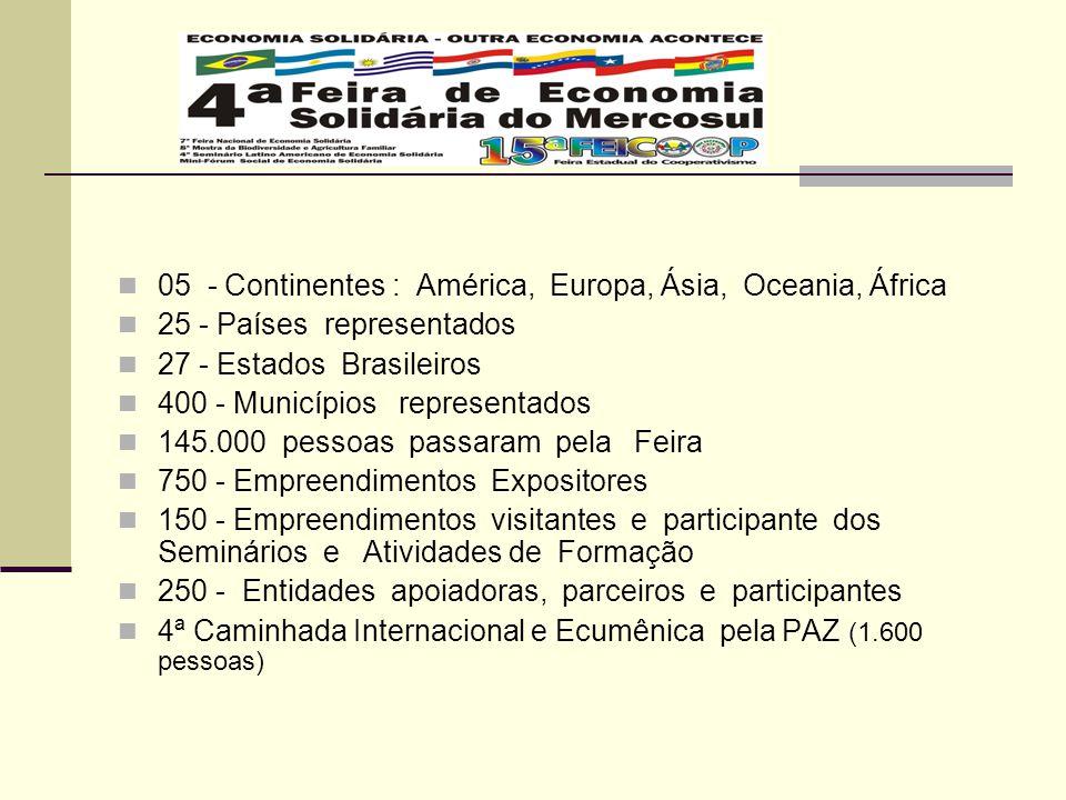 05 - Continentes : América, Europa, Ásia, Oceania, África 25 - Países representados 27 - Estados Brasileiros 400 - Municípios representados 145.000 pe