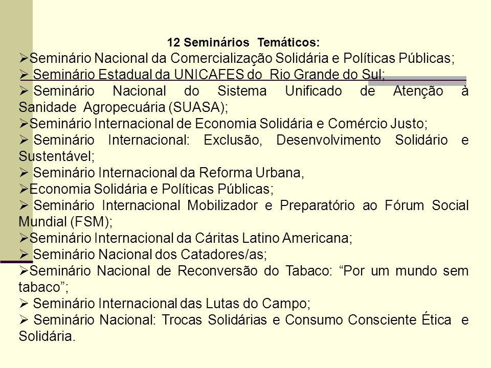 12 Seminários Temáticos:  Seminário Nacional da Comercialização Solidária e Políticas Públicas;  Seminário Estadual da UNICAFES do Rio Grande do Sul