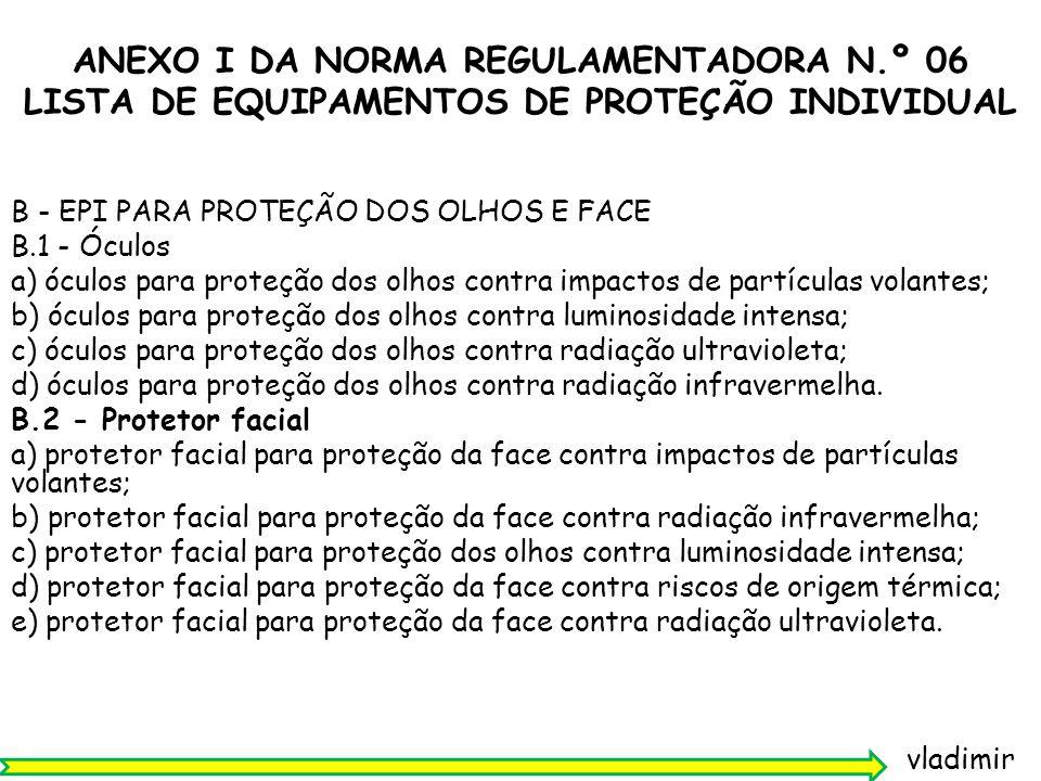 vladimir NR-06 - EQUIPAMENTO DE PROTEÇÃO INDIVIDUAL - EPI 6.9.1 Para fins de comercialização o CA concedido aos EPI terá validade: a) de 5 (cinco) anos, para aqueles equipamentos com laudos de ensaio que não tenham sua conformidade avaliada no âmbito do SINMETRO; b) do prazo vinculado à avaliação da conformidade no âmbito do SINMETRO, quando for o caso.