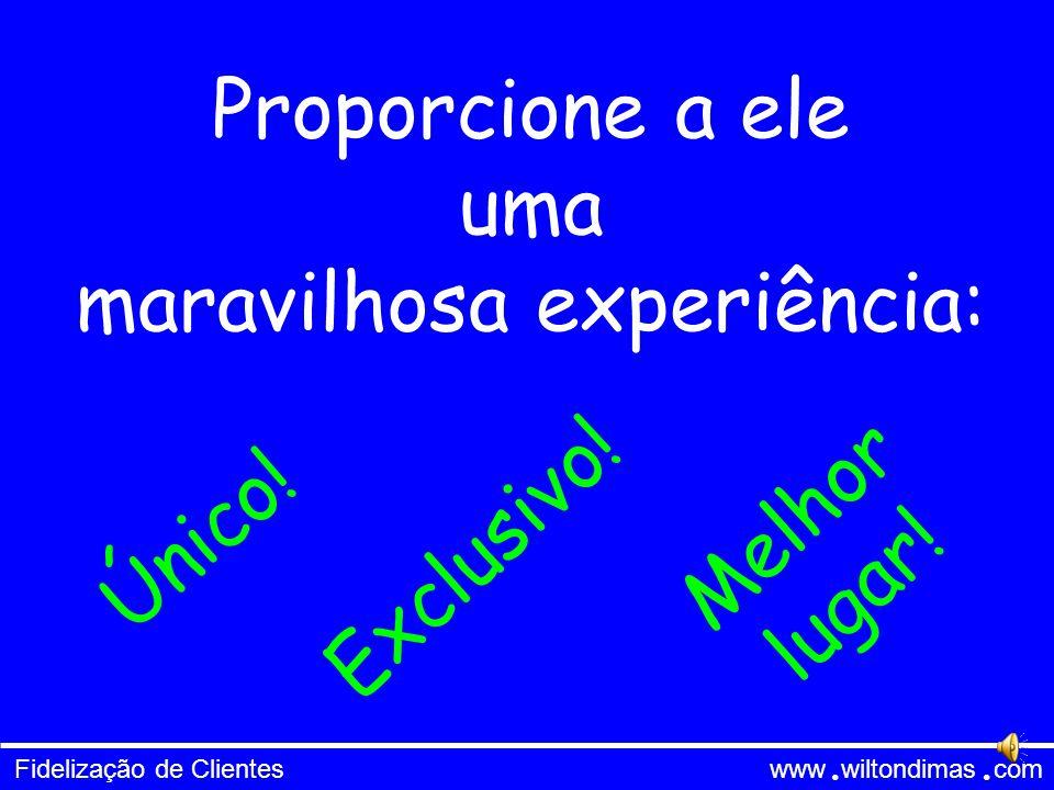 Fidelização de Clientes www wiltondimas com ● ● Proporcione a ele uma maravilhosa experiência: Único.
