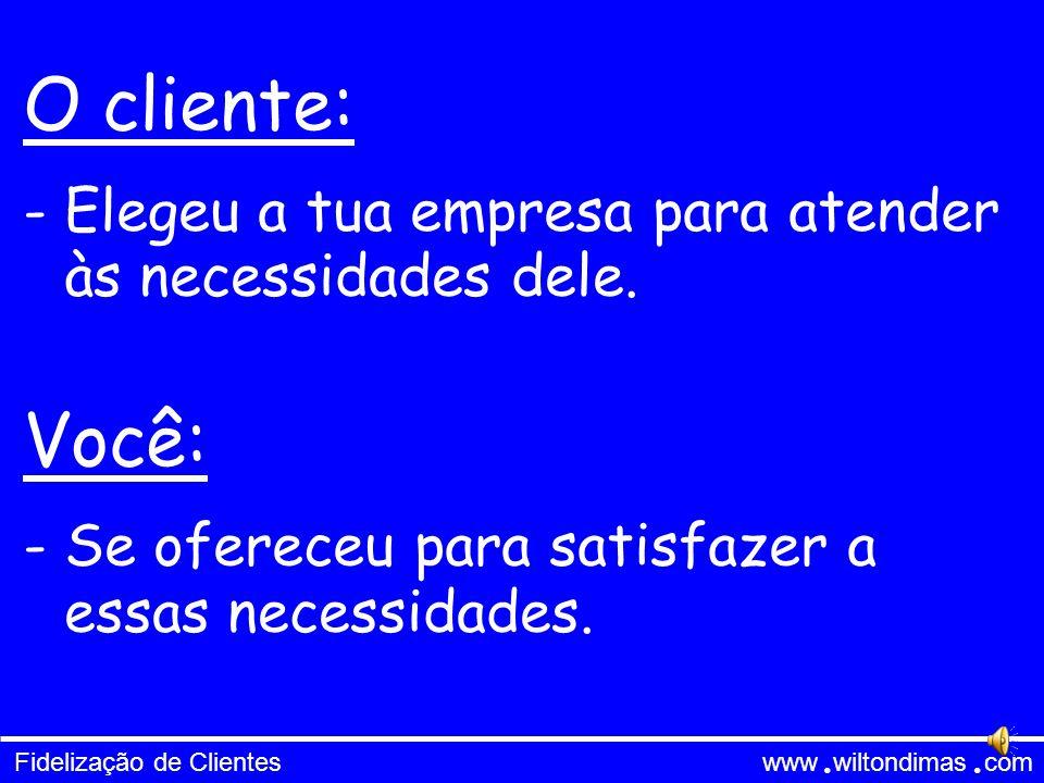 Fidelização de Clientes www wiltondimas com ● ● O cliente: Você: - Elegeu a tua empresa para atender às necessidades dele.