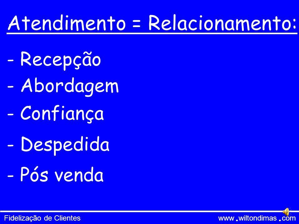 Fidelização de Clientes www wiltondimas com ● ● Atendimento = Relacionamento: - Recepção - Abordagem - Confiança - Despedida - Pós venda