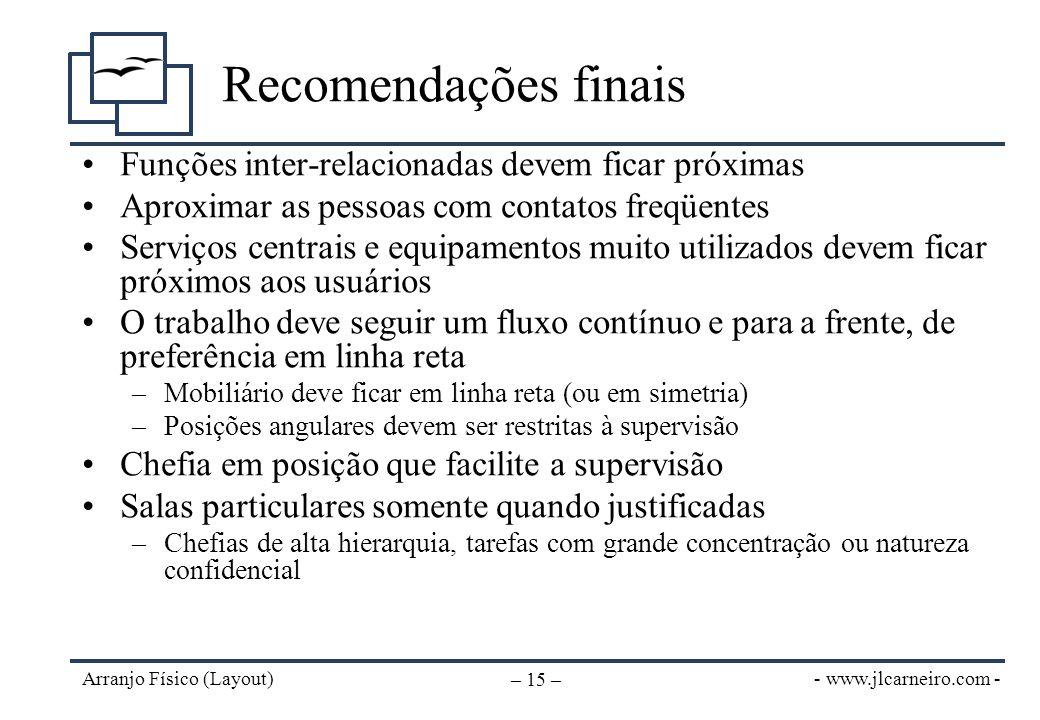 - www.jlcarneiro.com - Arranjo Físico (Layout) – 15 – Recomendações finais Funções inter-relacionadas devem ficar próximas Aproximar as pessoas com co