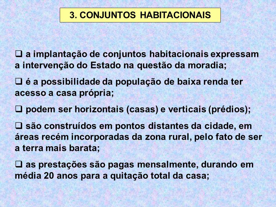 3. CONJUNTOS HABITACIONAIS  a implantação de conjuntos habitacionais expressam a intervenção do Estado na questão da moradia;  é a possibilidade da