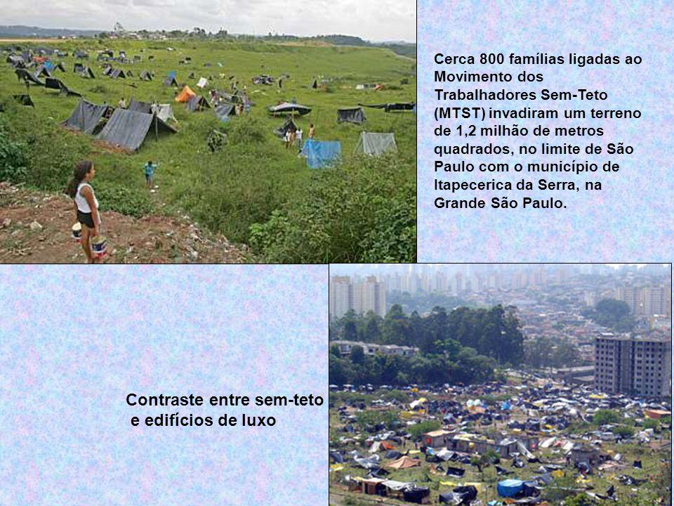 Cerca 800 famílias ligadas ao Movimento dos Trabalhadores Sem-Teto (MTST) invadiram um terreno de 1,2 milhão de metros quadrados, no limite de São Paulo com o município de Itapecerica da Serra, na Grande São Paulo.