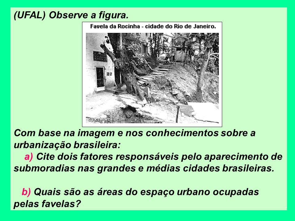 (UFAL) Observe a figura. Com base na imagem e nos conhecimentos sobre a urbanização brasileira: a) Cite dois fatores responsáveis pelo aparecimento de