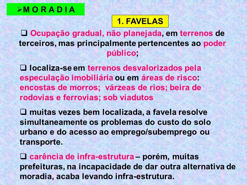  Ocupação gradual, não planejada, em terrenos de terceiros, mas principalmente pertencentes ao poder público;  localiza-se em terrenos desvalorizados pela especulação imobiliária ou em áreas de risco: encostas de morros; várzeas de rios; beira de rodovias e ferrovias; sob viadutos  muitas vezes bem localizada, a favela resolve simultaneamente os problemas do custo do solo urbano e do acesso ao emprego/subemprego ou transporte.