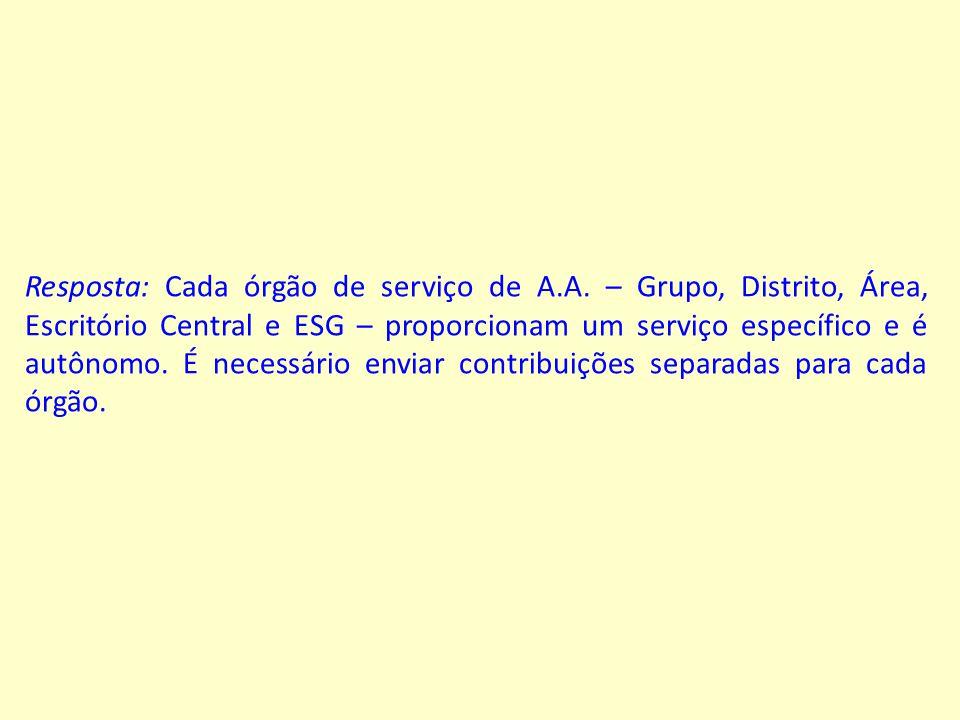 Resposta: Cada órgão de serviço de A.A.