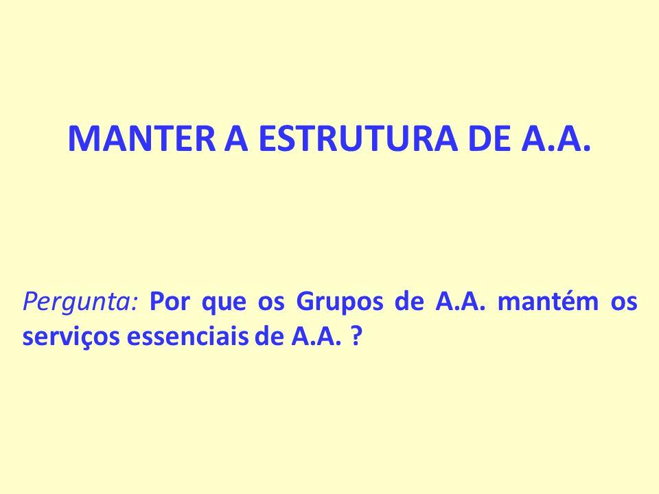 MANTER A ESTRUTURA DE A.A.Pergunta: Por que os Grupos de A.A.
