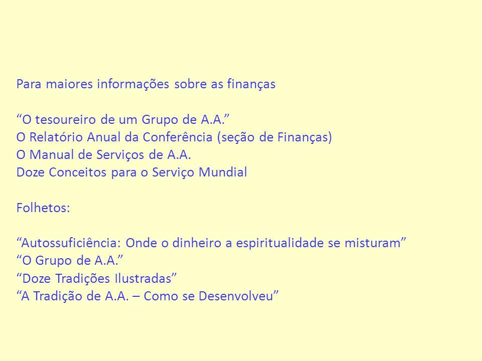 Para maiores informações sobre as finanças O tesoureiro de um Grupo de A.A. O Relatório Anual da Conferência (seção de Finanças) O Manual de Serviços de A.A.