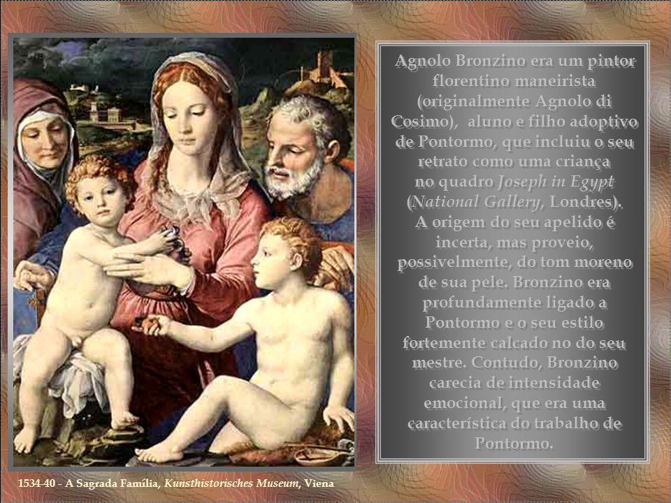 Agnolo Bronzino era um pintor florentino maneirista (originalmente Agnolo di Cosimo), aluno e filho adoptivo de Pontormo, que incluiu o seu retrato como uma criança no quadro Joseph in Egypt ( National Gallery, Londres).