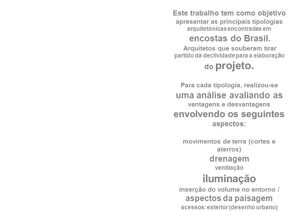Este trabalho tem como objetivo apresentar as principais tipologias arquitetônicas encontradas em encostas do Brasil.