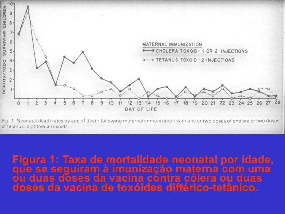 Figura 1: Taxa de mortalidade neonatal por idade, que se seguiram à imunização materna com uma ou duas doses da vacina contra cólera ou duas doses da vacina de toxóides diftérico-tetânico.
