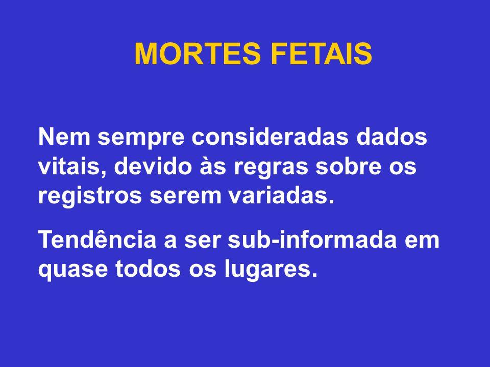 MORTES FETAIS Nem sempre consideradas dados vitais, devido às regras sobre os registros serem variadas.