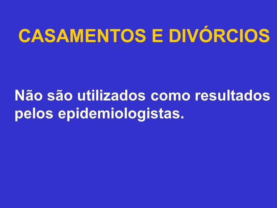 CASAMENTOS E DIVÓRCIOS Não são utilizados como resultados pelos epidemiologistas.