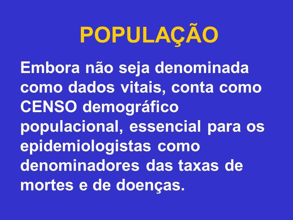 POPULAÇÃO Embora não seja denominada como dados vitais, conta como CENSO demográfico populacional, essencial para os epidemiologistas como denominadores das taxas de mortes e de doenças.