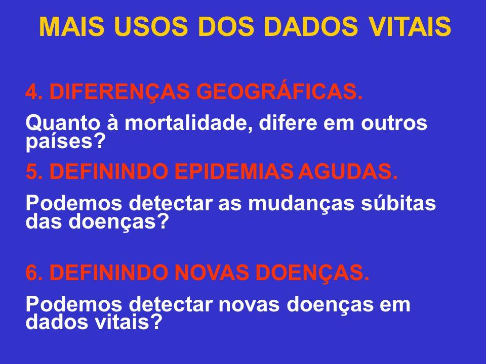 MAIS USOS DOS DADOS VITAIS 4. DIFERENÇAS GEOGRÁFICAS.
