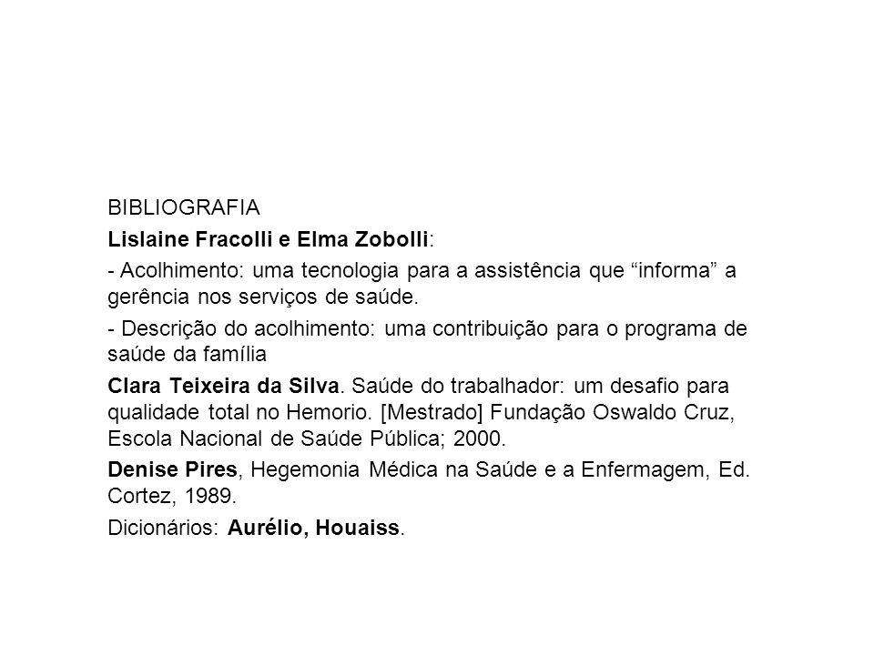 """BIBLIOGRAFIA Lislaine Fracolli e Elma Zobolli: - Acolhimento: uma tecnologia para a assistência que """"informa"""" a gerência nos serviços de saúde. - Desc"""