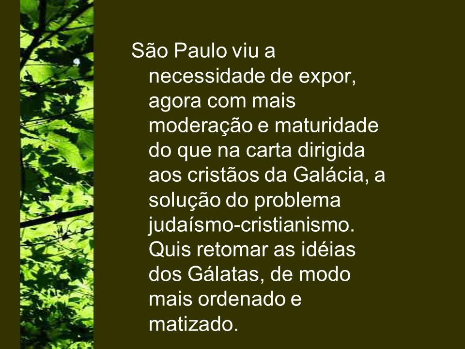 São Paulo viu a necessidade de expor, agora com mais moderação e maturidade do que na carta dirigida aos cristãos da Galácia, a solução do problema ju