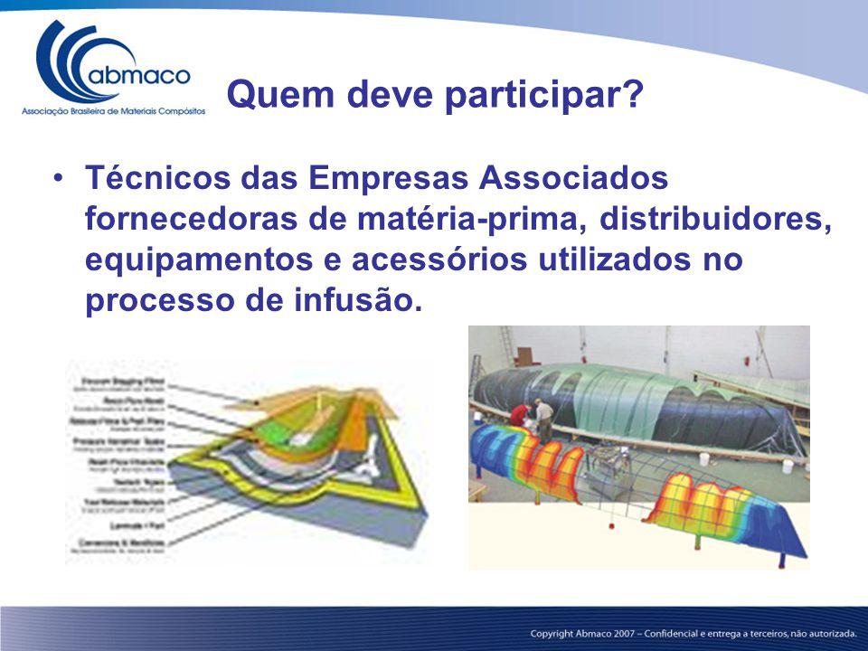 Quem deve participar? Técnicos das Empresas Associados fornecedoras de matéria-prima, distribuidores, equipamentos e acessórios utilizados no processo